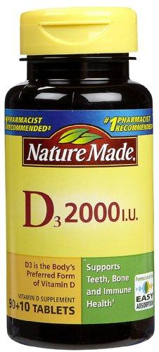 Nature Made Vitamin D3 2000 IU, Tablets - 100 ea