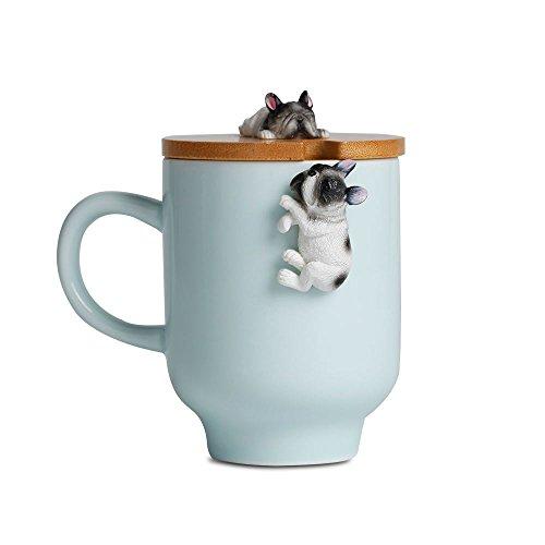 Bulldog Mug with Funny Bamboo Lid,Ceramic Cute