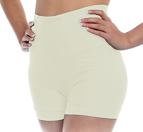 B Dancewear Womens High Waisted Dance Shorts Medium Ivory Adult Sizes With Fold Over Band and ()