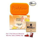 10 Units of Pink Pure Soap 100g. Brightening Aura Skin Care Reduce Dark Spot Acne Wrinkle Gentle formulation With Coconut oil Carrot Vitamin B3[Get Free Tomato Facial Mask]