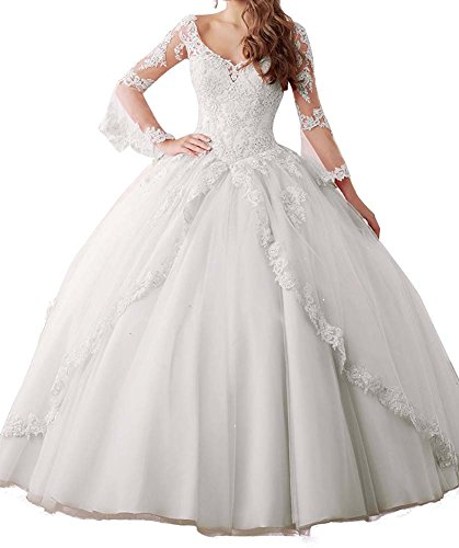 Quinceanera Dresses (Annadress Women's Long Sleeve Lace Quinceanera Dresses Train V-Neck Ball Gown White US16)