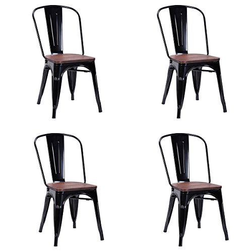 Costway Tolix Style Dining Chairs Industrial Metal Stackable Cafe Side Chair w/ Wood Seat Set of 4 (Black)