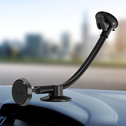 IPOW Truck Phone Holder,Long Arm Universal Car Magnetic Windshield Mount with Flexible Base Compatible with iPhone X XR XS Max 8 7 7P 6S 6 5S, Galaxy S9 S9+ S8 S8+ S7 S6 S5,Google, Nexus, LG, Huawei