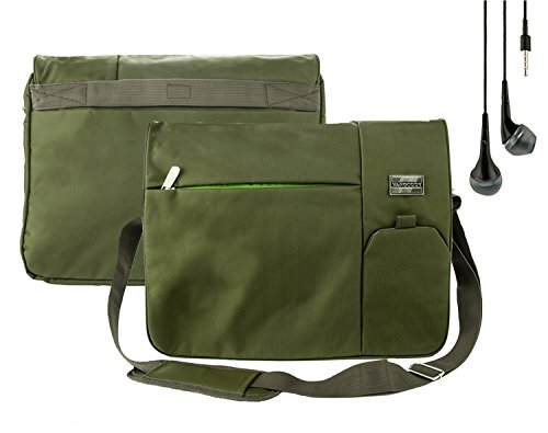 Vangoddy Crossbody Lightweight Sport Nylon Messenger Bag [Olive Green] with Earbuds For Lenovo 15.6-inch Laptops (IdeaPad, Flex, Thinkpad, Edge...