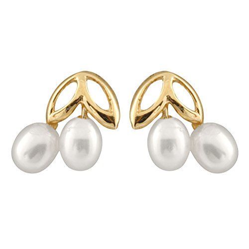 (14k Yellow Gold Cherry Stud Earrings 3.5-4mm Freshwater Cultured Pearls 14K YG Silicone Push Backs)