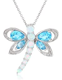 """Sterling Silver Multi-Gems and Genuine White Diamonds Dragonfly Pendant Necklace, 18"""""""