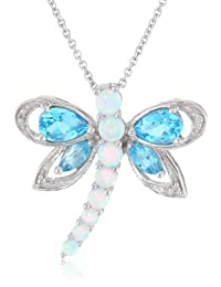 Sterling Silver Multi-Gems and Genuine White Diamonds Dragonfly Pendant Necklace, 18""