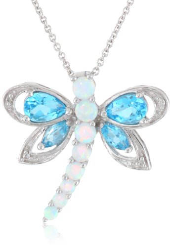 Jewelili Sterling Silver Multi-Gems and Genuine White Diamonds Dragonfly Pendant Necklace, 18