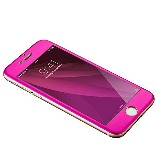 Amonfineshop Für iPhone 6 plus ausgeglichenes Glas-Schirm-Film; 3D Full Metal Coverage(hot pink)