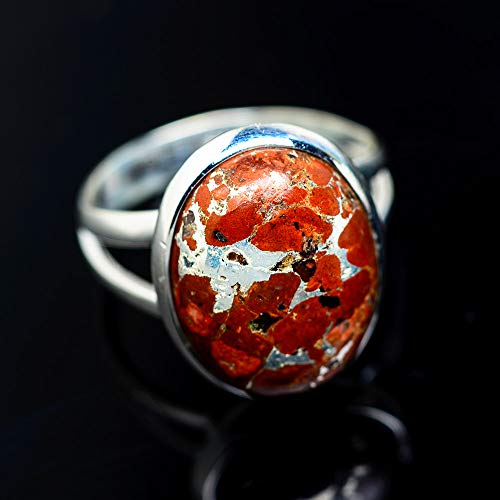 Brecciated Red Jasper Ring Size 7 (925 Sterling Silver) - Handmade Boho Vintage Jewelry RING943180