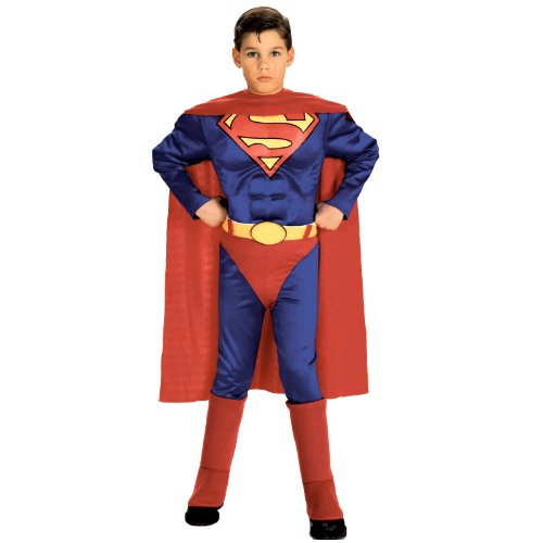 Super DC Heroes Deluxe Muscle Chest Superman Costume, Child's Medium