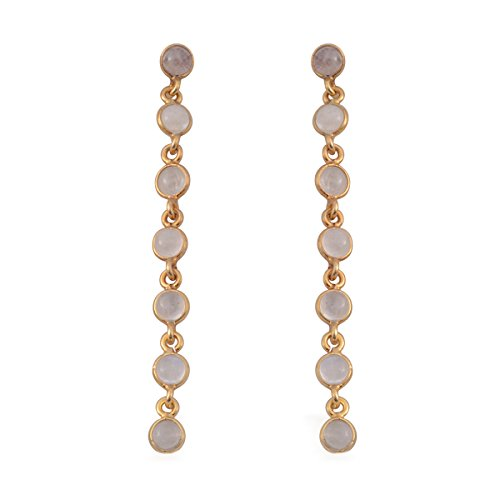 Moonstone Yellow Earrings - Silver Moonstone 14K Yellow Gold Plated Silver Earrings
