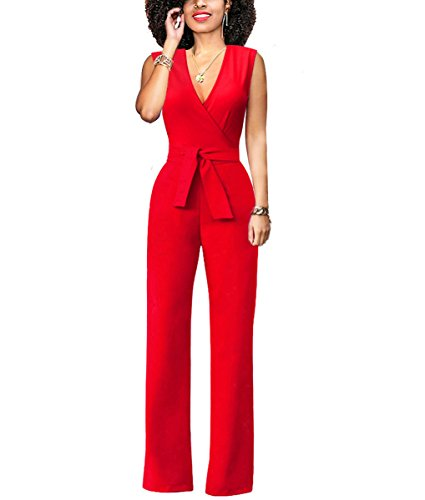 Chic-Lover Women's Elegant Solid Jumpsuit Wrap Top High Waisted Wide Leg Long Pants Jumpsuits Romper with Belt (S, 8317-Red) by Chic-Lover