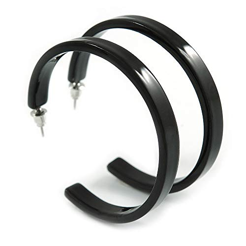 50mm Trendy Black Acrylic/Plastic/Resin Hoop Earrings