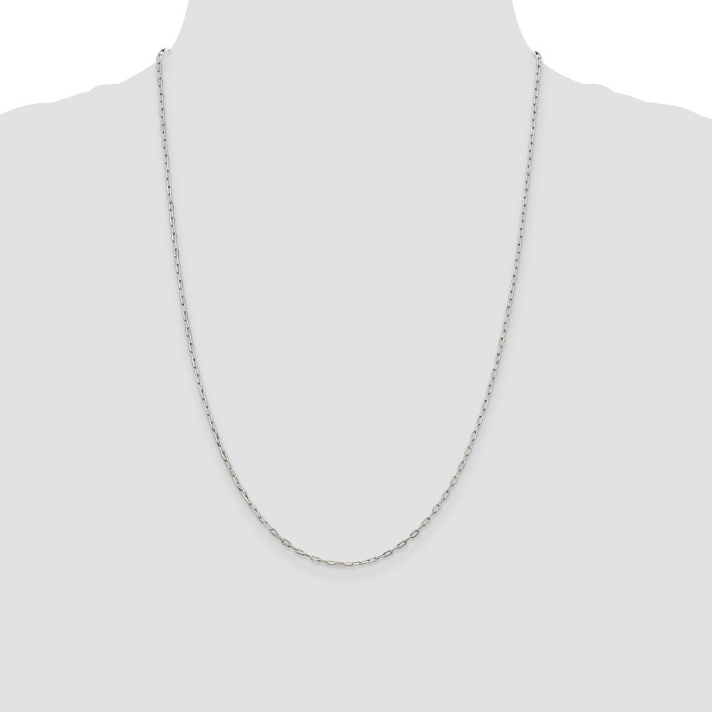 Solid Sterling Silver Elongated Open Link Chain Necklace or Bracelet
