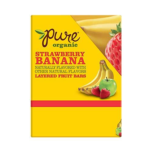 Pure Organic, Layered Fruit Bars, Strawberry Banana, Gluten Free and Vegan Fruit Snacks, 12.6oz Box (20 Count)