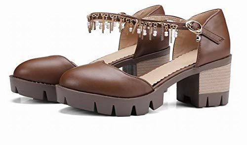 Sandals Kitten CCALP015354 Heels Women's Closed Toe Pu Solid Brown Buckle VogueZone009 qf8wt6C