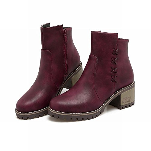 Mee Shoes Women's Office Mid Heel Zip Platform Short Boots Wine Red mIEyPqv