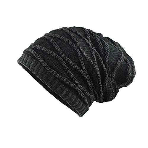Clearance WUAI Unisex Winter Knit Hat Thicken Warm Knit Beanie Slouchy Caps Skull Hat(Black 1,Free Size)