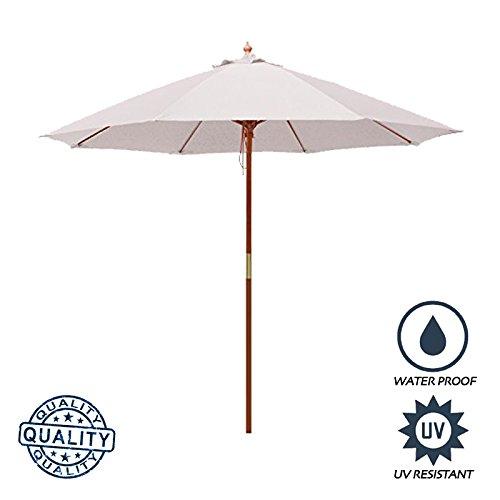 Above All Advertising, Inc. AAA Best 7 Feet Brolliz Round Fiberglass Market Umbrella - Outdoor Garden Patio Umbrella (White) 7 Wooden Market Umbrella