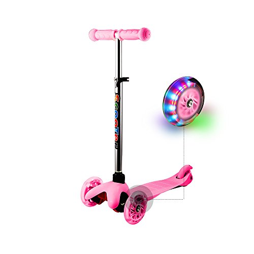 Ancheer Kids 3 Wheels Scooter Micro Mini Adjustable Push Kick Scooter for Toddler Boy Girls Age 12 Months to 5 Years Old (Pink)