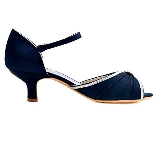 ElegantPark HP1623 Peep toes abrochan los zapatos de novia de satén tacón bajo las sandalias azul oscuro