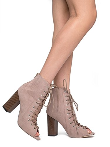 Lace Up Peep Toe Chunky Heel - Trendy Wood Block Heel Bootie - Open Toe Boot - Corrine by J Adams (Purple Leopard Print Thigh Highs)