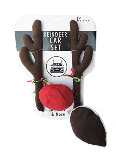 Reindeer For Cars (MOMONI Premium Reindeer Car Kit Antlers, Nose, Tail- Rudolph Set Reindeer Christmas Decoration Car Costume Auto)
