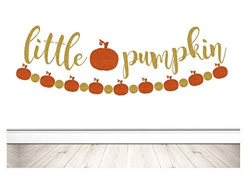 (Little Pumpkin Banner, Baby Shower Banner, Fall Baby Banner, Fall Baby Shower Banner, Gold Glitter Pumpkin Banner, Baby Banner)