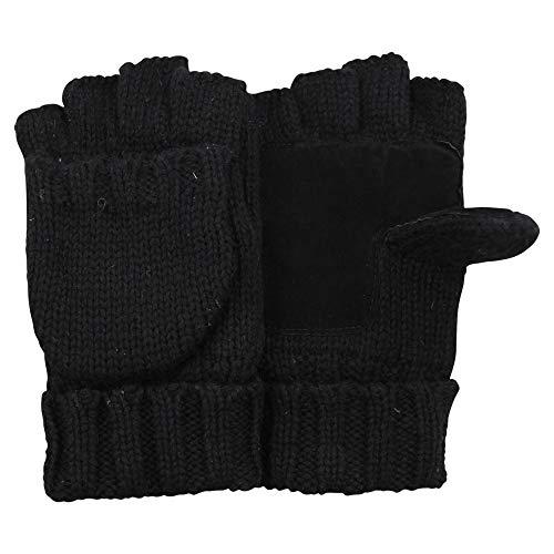 Mens Fingerless Fleece Lined Convertible Mittens Gloves (Black, Small/Medium)