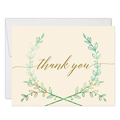 Lovely Rustic Wreath Thank You Cards with Envelopes (Pack of 50) Pink All Occasion Folded Blank Engagement Party Thanks Bride Groom Wedding Dinner Thank You Notes Excellent Value Notecards VT0049