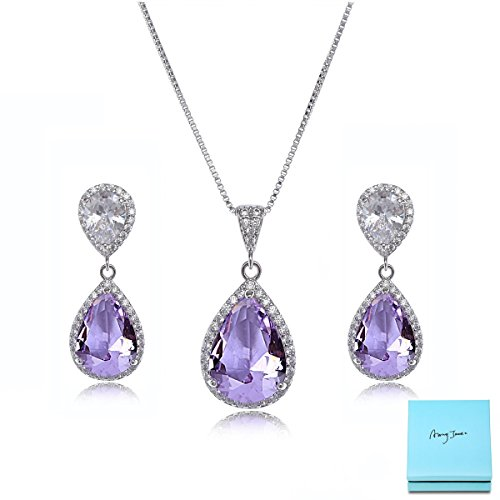 Wedding Jewelry Set for Bride - Sterling Silver Teardrop Amethyst Purple Cubic Zirconia Crystal Rhinestone Drop Earrings and Necklace Bridal Jewelry Sets Best Gift for Bridesmaids Birthstone ()