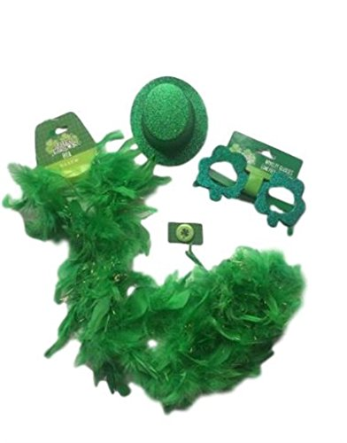 [St Patricks Day Party Set!!! St Patricks Day Accessories (Green Boa, Glittery Costume Shamrock Shaped Glasses, Glittery Mini Top Hat and a Shamrock Themed] (Green Themed Costumes)