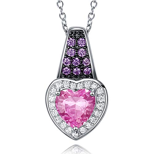 - Caperci Sterling Silver Lab-Created Gemstone Amethyst and Heart Pink Sapphire Pendant Necklace for Women, 18''