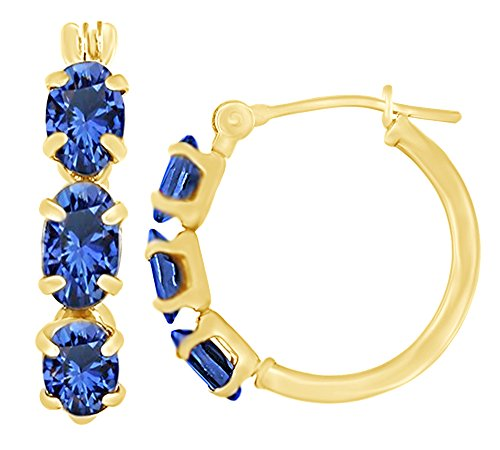 Oval Cut Simulated Blue Sapphire Hoop Earrings In 10K Solid Yellow Gold
