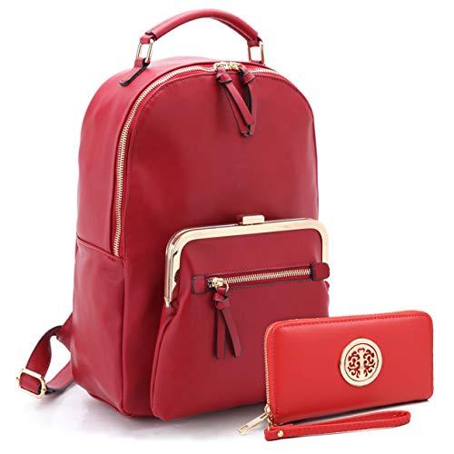 MMK collection Women Fashion Backpack with wallet Designer Purse for Women Multi Pocket Backpack Handbag Set 2443 7025