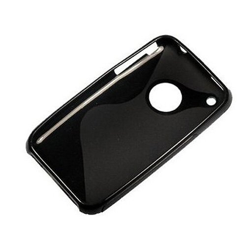 TOOGOO(R) Schwarz Gummi TPU Gel Hartschale Huelle Tasche fuer Apple iPhone 3G 3GS 8GB 16GB