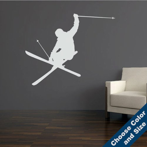 (Urbandecal Heli-Iron Cross-Skier Wall Decal, Large sizes, Choose Size and Color)