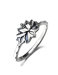 YFN Women Fashion Jewelry Sterling Silver Lotus Flower Yoga Pattern Antique Ring Size 7