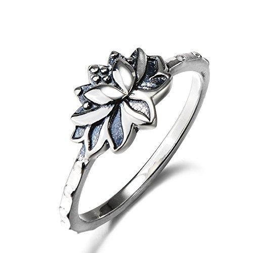 YFN Sterling Silver Vintage Lotus Flower Ring Size 7 (7) by YFN