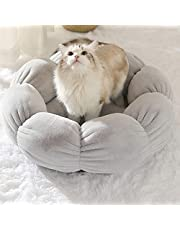 EKDJKK 16in Cat Beds for Indoor Cats, Non Slip Round Flower Shape Cat Bed, Machine Washable Cushion, Cat Calming Cushion Bed for Joint-Relief and Sleep Improvement