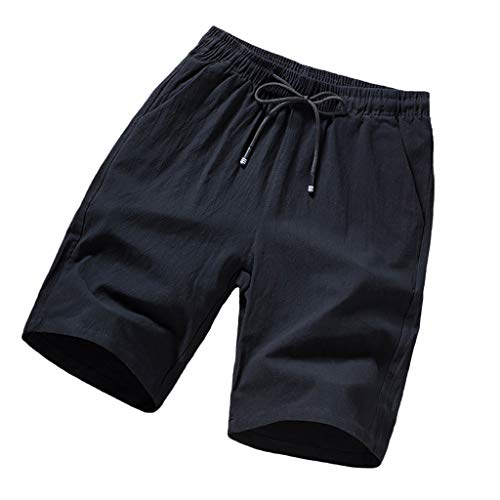 b20ebed673 wodceeke Men's Linen Casual Classic Fit Short Drawstring Summer Solid Color  Beach Swim Shorts (XXXXL