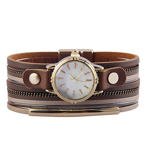 joymiao Women Quartz Bracelet Leather Watch Bracelet Tube Charm Bangle Fashion Jewelry for Teen, Girls ()