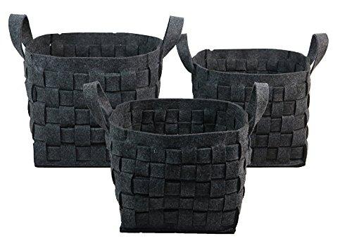 Wald Imports Gray Woven wool  Decorative Storage Basket/Caddy, Set of 3