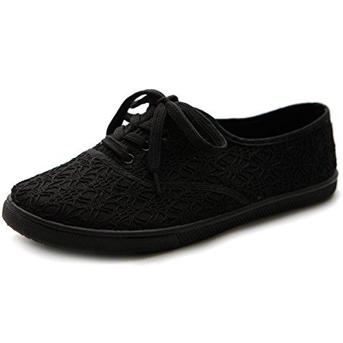 Lace Up Womens Shoes - Ollio Women's Ballet Shoe Lace Up Sneaker Canvas Flat ML027(10 B(M) US, Black)