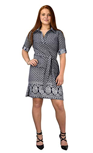 Peach Couture Womens Summer Causal V Neck Shift ¾ Sleeve Waist Tie Shift Dress Navy Floral, Large