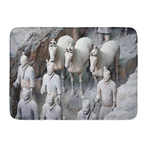 Emvency Bath Mat Xian China 11 Mar View The Terracotta Army Soldier Horse Funerary Statues Collection Thousands Bathroom Decor Rug 16