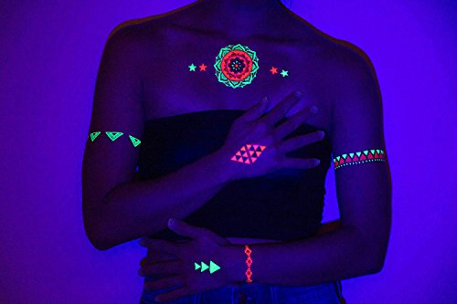 UV Blacklight Tattoos -- Glow In The Dark Rave Temporary Flash Tattoos TribeTats -- Rainbow Neon Henna Inspired Body Art -- Includes: Armbands, Stars, Bracelets -- Party Accessories -