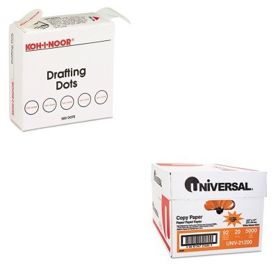 KITKOH25900J01UNV21200 - Value Kit - Koh-i-noor Adhesive Drafting Dots w/Dispenser (KOH25900J01) and Universal Copy Paper (UNV21200)