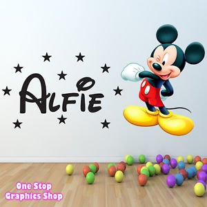 1Stop Graphics   Shop Mickey Mouse Full Colour Personalised Wall Sticker    Boys Girls Disney C122